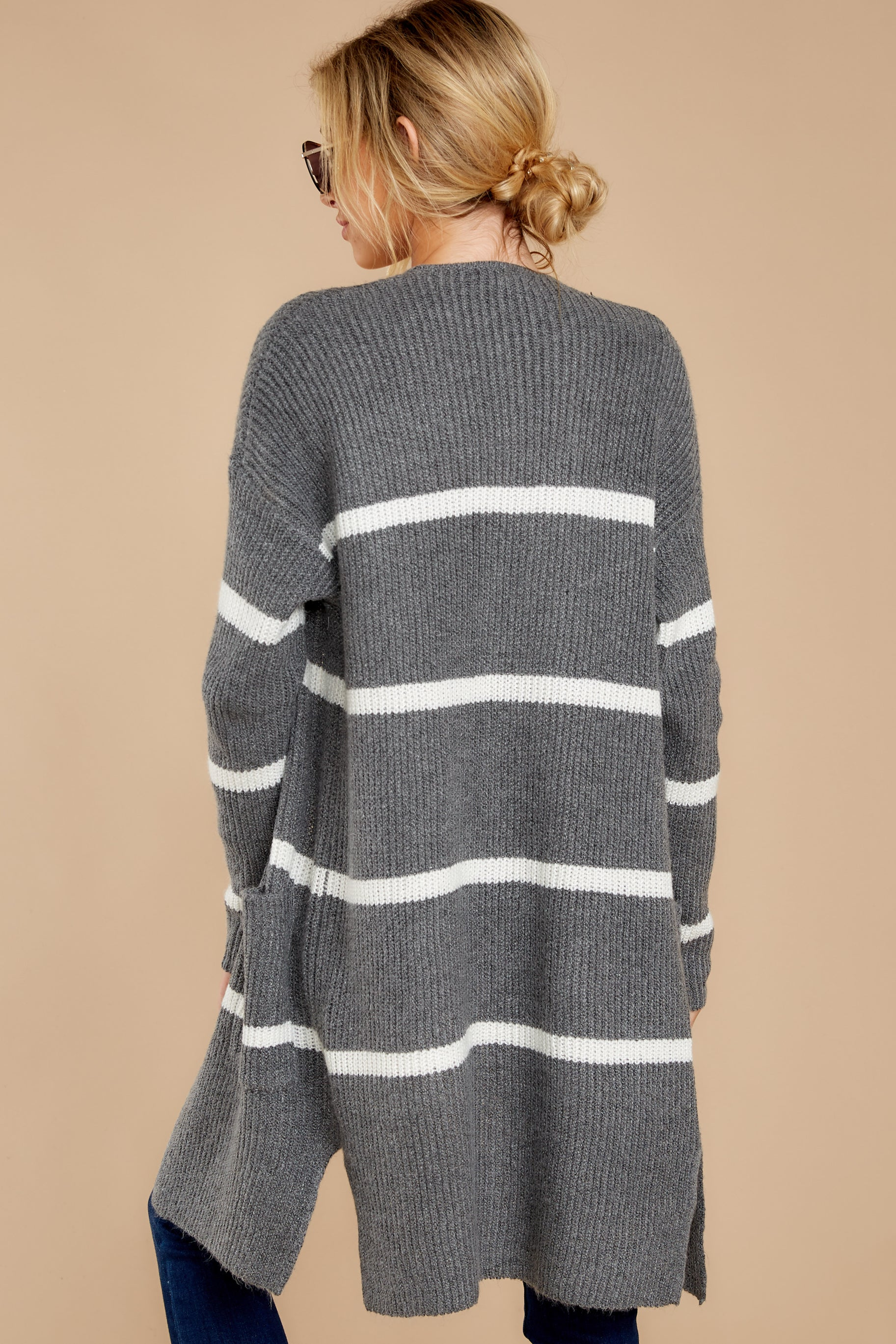8 Ivy Cottage Grey Stripe Cardigan at reddressboutique.com