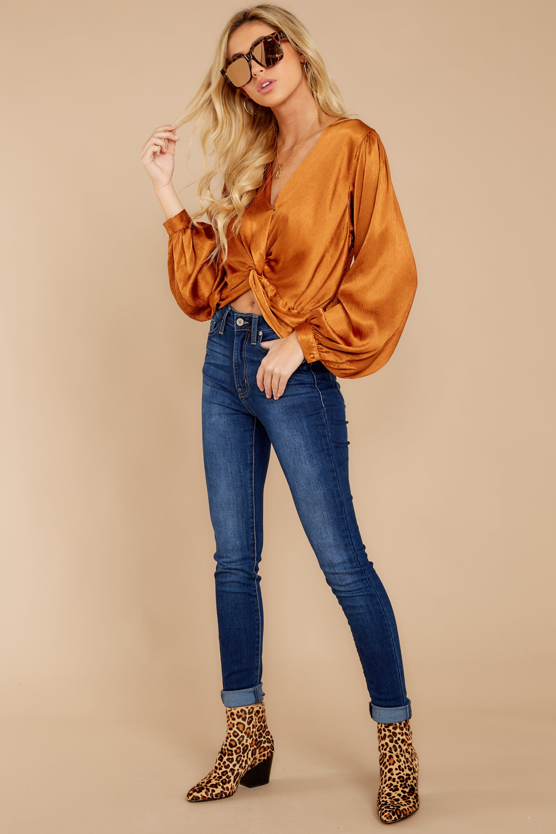 3 Drinks On Me Caramel Top at reddressboutique.com