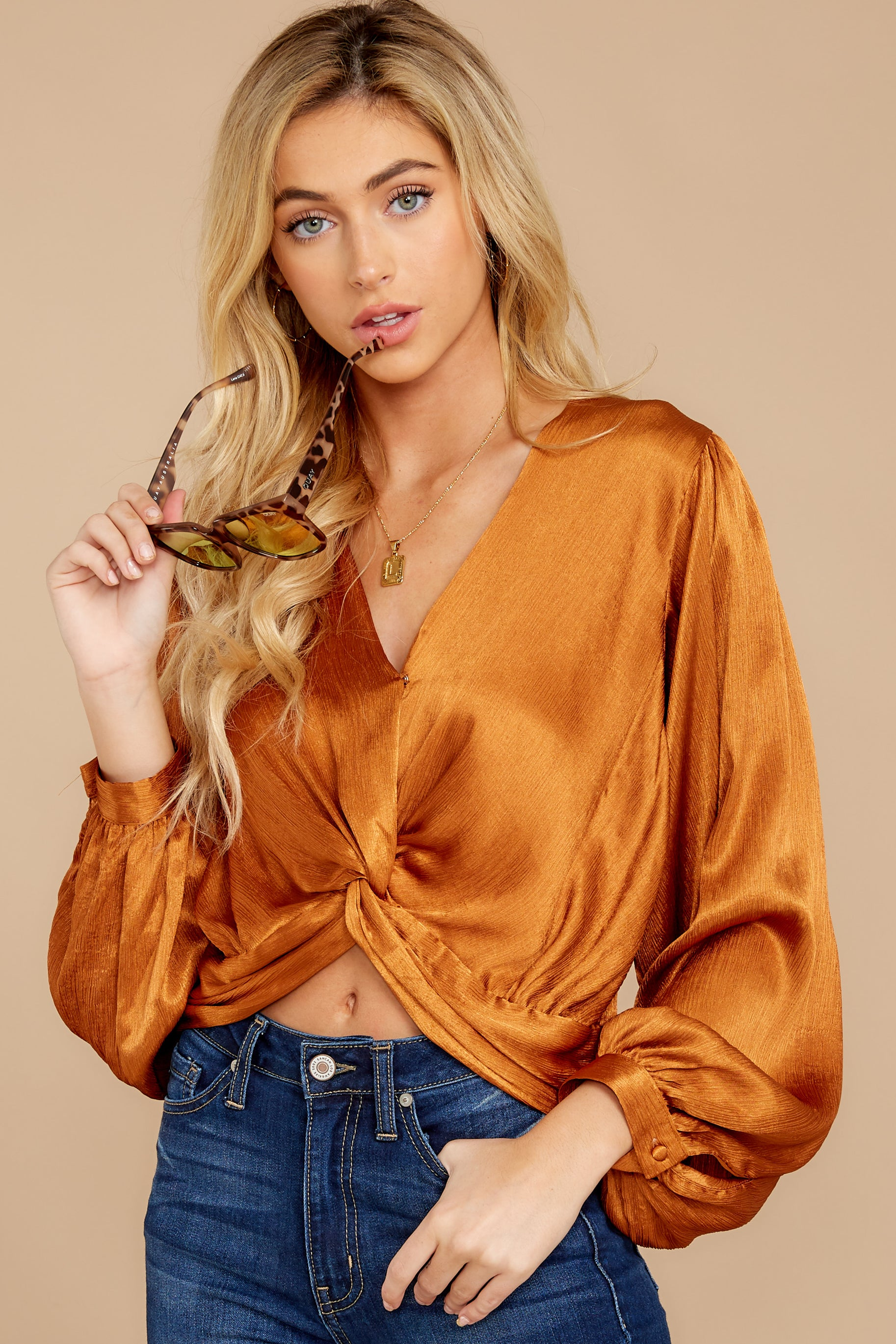 4 Drinks On Me Caramel Top at reddressboutique.com