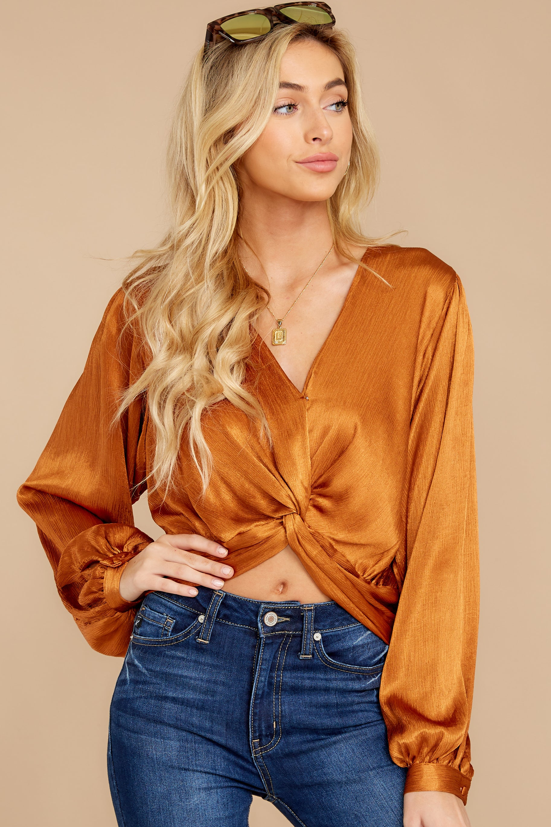 5 Drinks On Me Caramel Top at reddressboutique.com