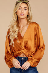 6 Drinks On Me Caramel Top at reddressboutique.com