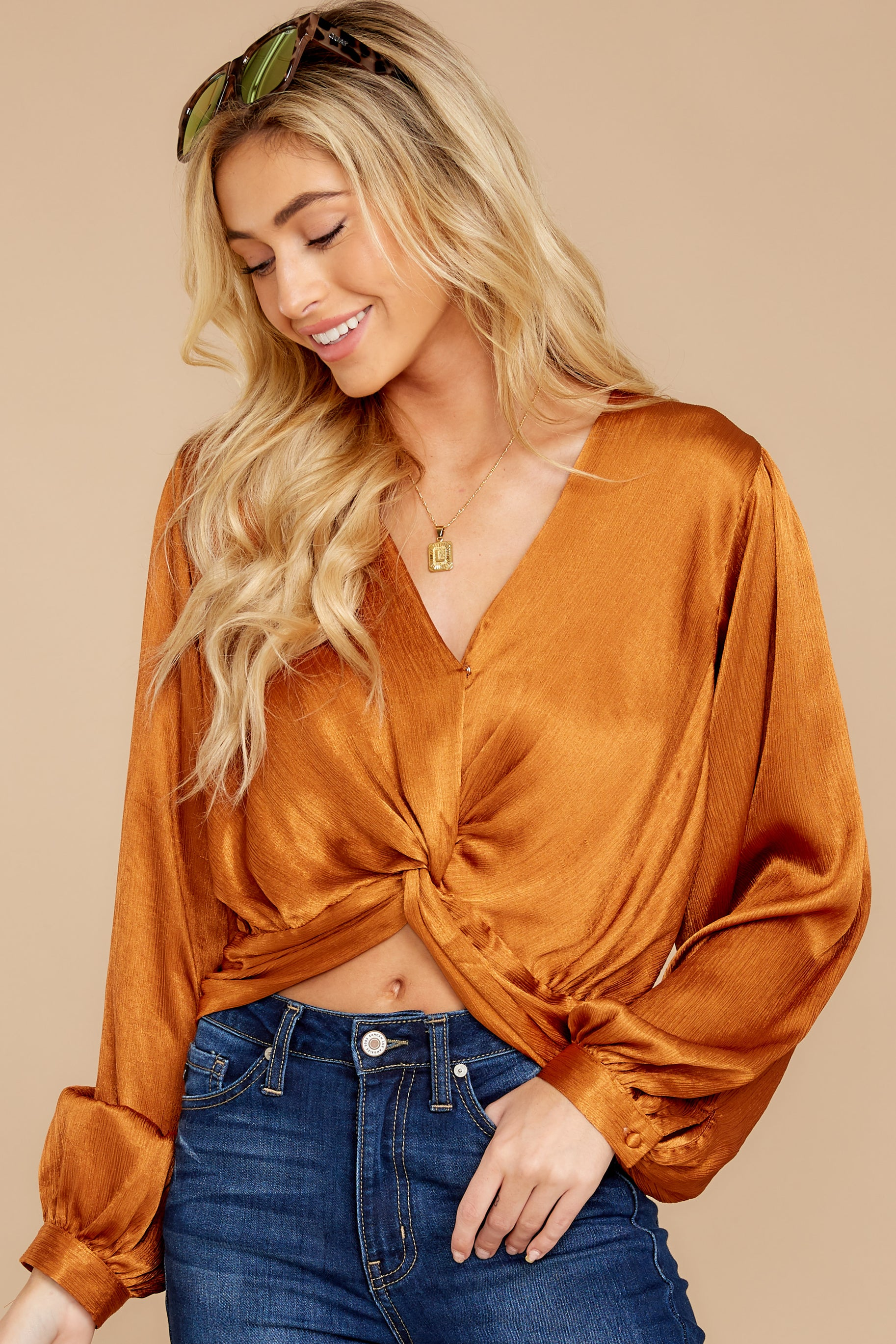 7 Drinks On Me Caramel Top at reddressboutique.com