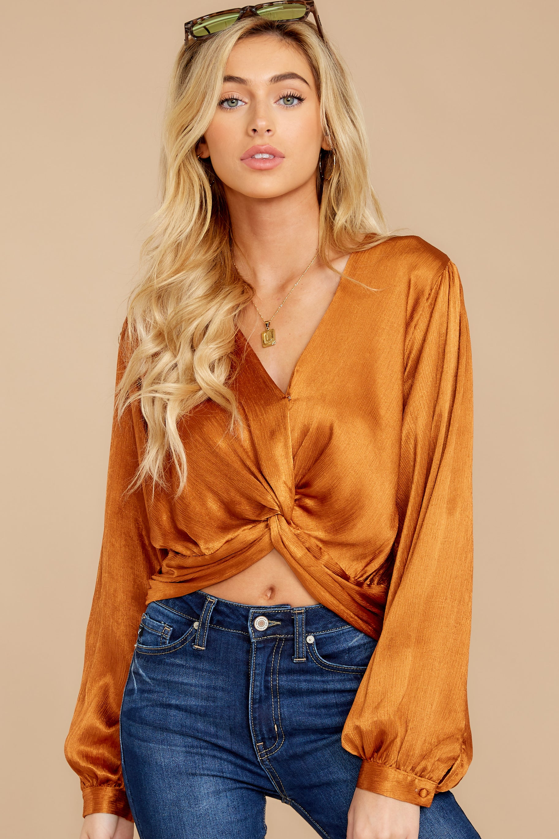 8 Drinks On Me Caramel Top at reddressboutique.com
