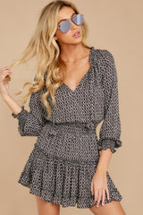 6 Freelance Dreamer Charcoal Print Dress at reddressboutique.com