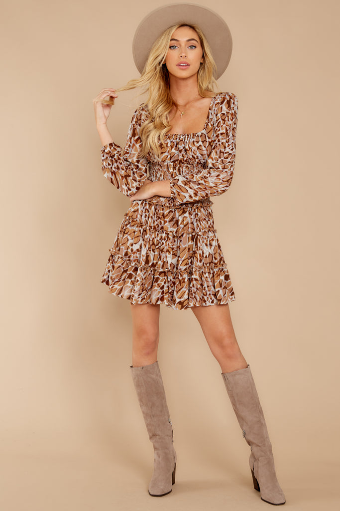 1 Still Falling Brown Multi Print Dress at reddressboutique.com