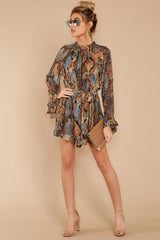 1 Know What To Expect Rust Orange Multi Snake Print Romper at reddressboutique.com