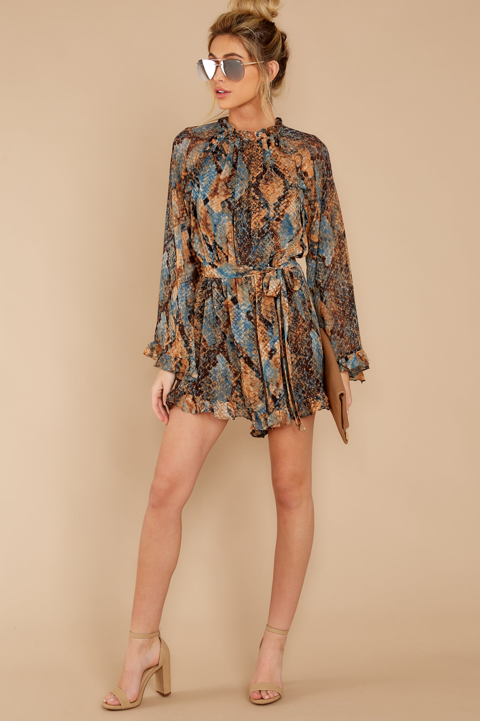 2 Know What To Expect Rust Orange Multi Snake Print Romper at reddressboutique.com