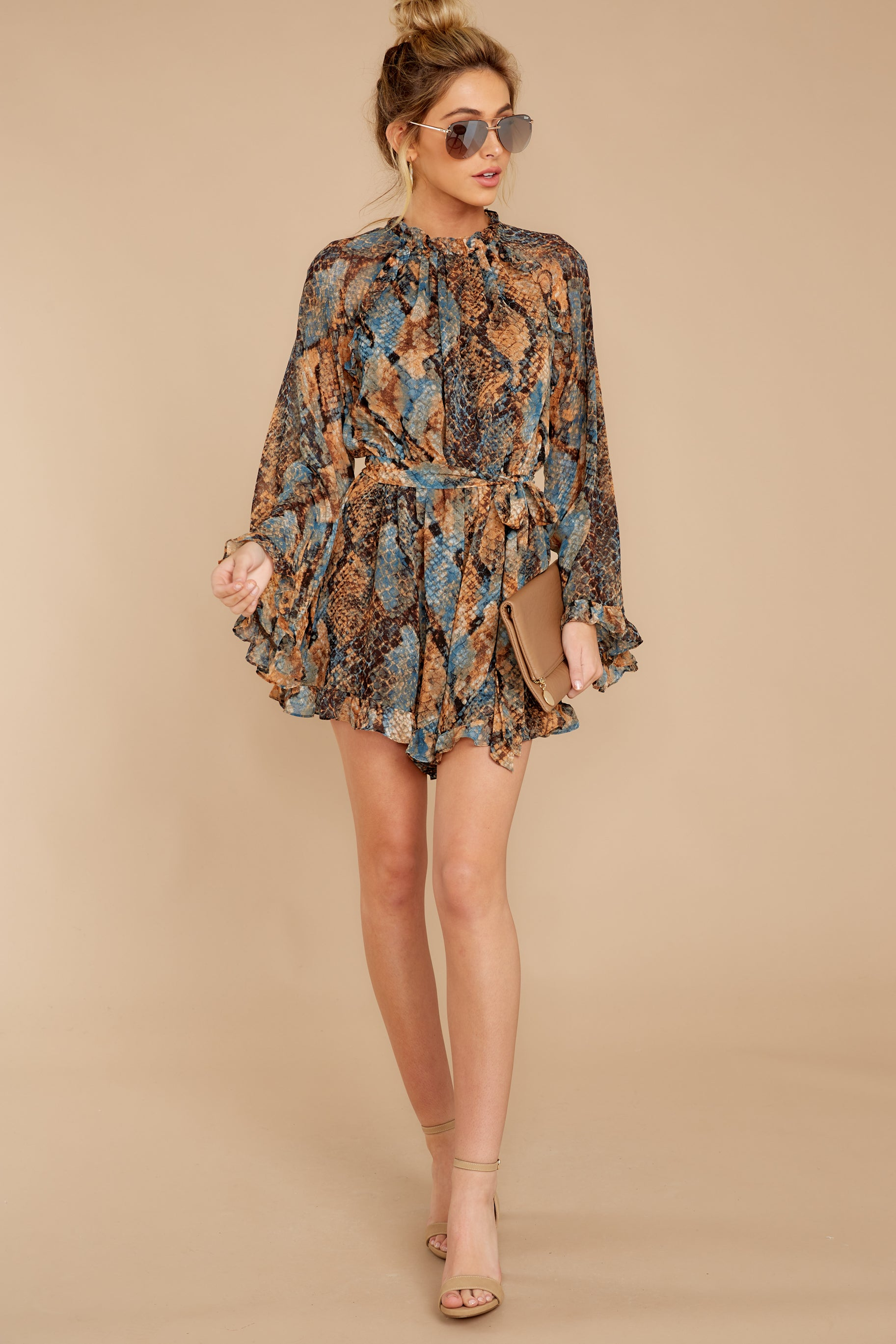3 Know What To Expect Rust Orange Multi Snake Print Romper at reddressboutique.com