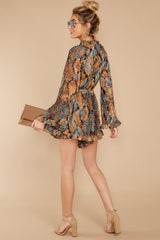 4 Know What To Expect Rust Orange Multi Snake Print Romper at reddressboutique.com