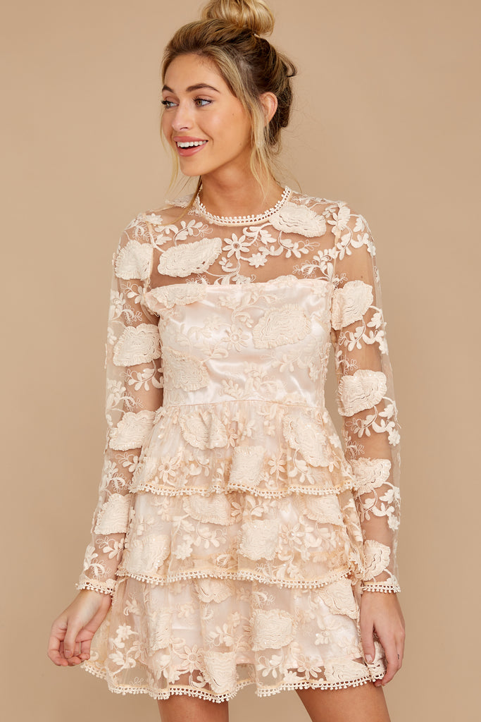 1 Beyond Elegance Ivory Blush Lace Midi Dress at reddress.com