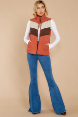 1 Cozy On Up Rust Orange Multi Vest at reddressboutique.com