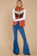 2 Cozy On Up Rust Orange Multi Vest at reddressboutique.com