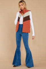 3 Cozy On Up Rust Orange Multi Vest at reddressboutique.com