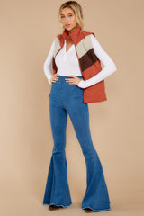 4 Cozy On Up Rust Orange Multi Vest at reddressboutique.com