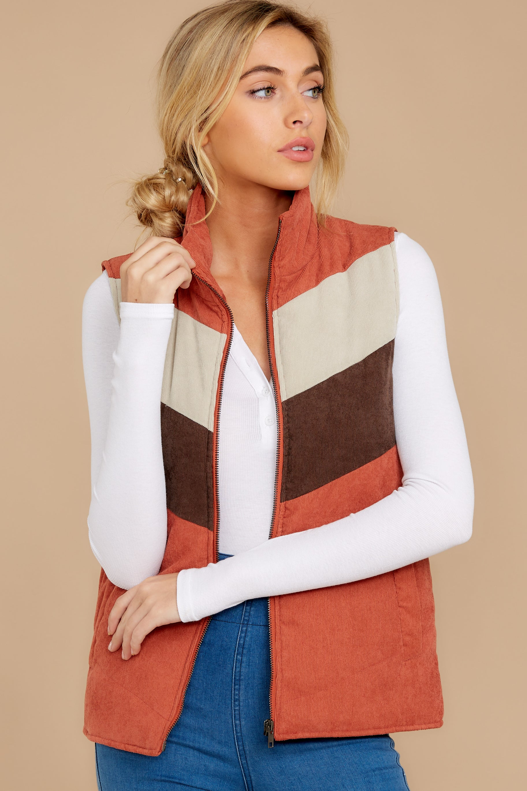 5 Cozy On Up Rust Orange Multi Vest at reddressboutique.com
