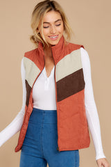 6 Cozy On Up Rust Orange Multi Vest at reddressboutique.com