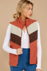 7 Cozy On Up Rust Orange Multi Vest at reddressboutique.com