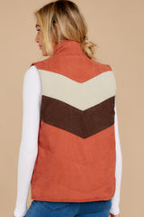 8 Cozy On Up Rust Orange Multi Vest at reddressboutique.com
