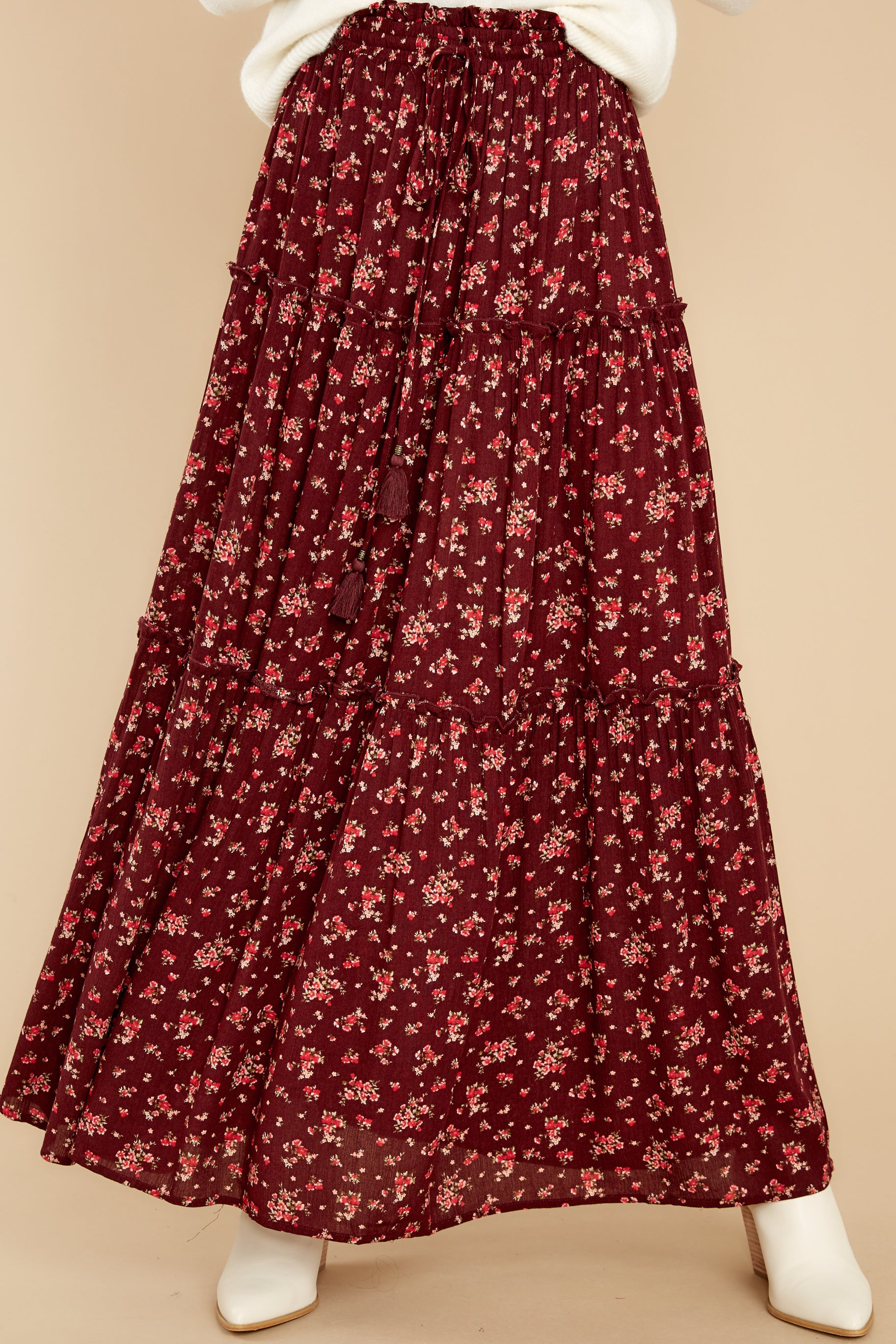 Cottagecore Clothing, Soft Aesthetic Flirty In The Fall Burgundy Floral Print Maxi Skirt $50.00 AT vintagedancer.com