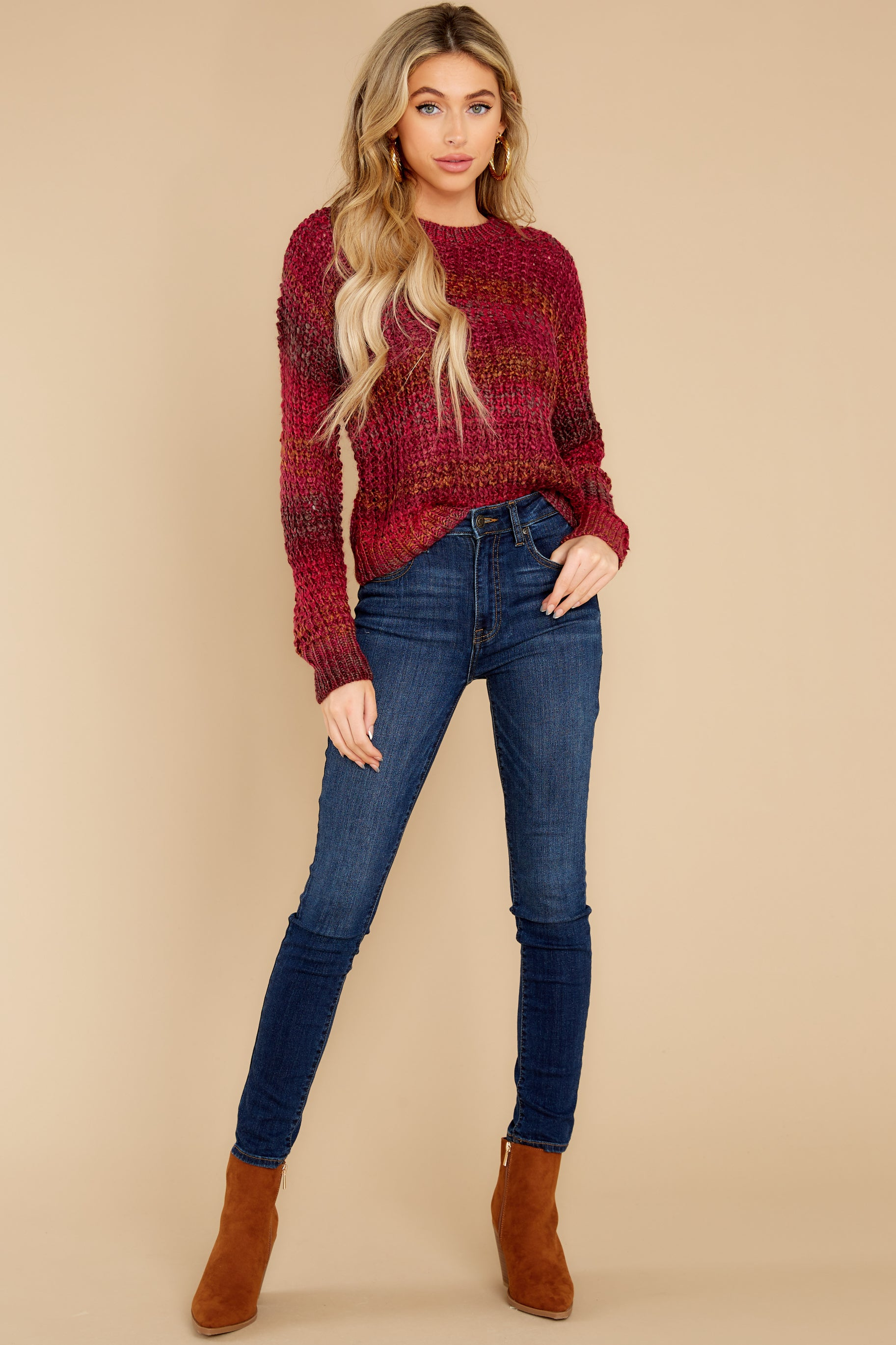 6 Catching Up Red Multi Knit Sweater at reddress.com