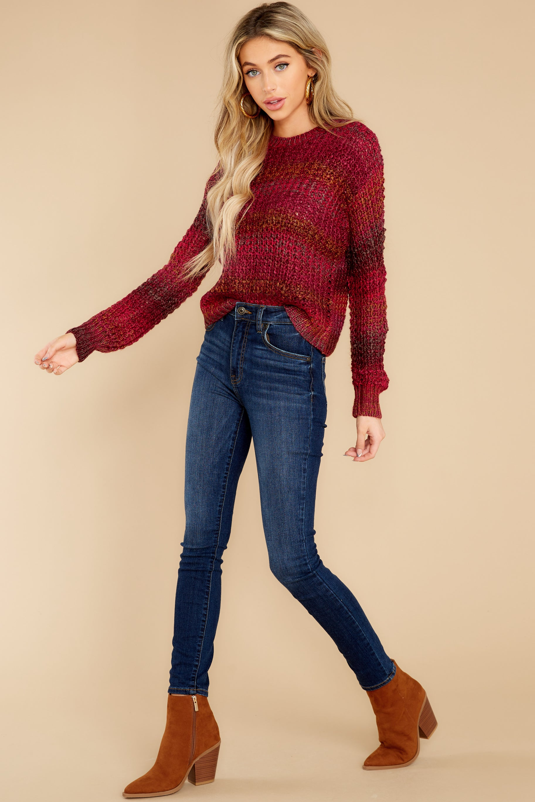 5 Catching Up Red Multi Knit Sweater at reddress.com