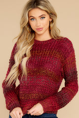 3 Catching Up Red Multi Knit Sweater at reddress.com