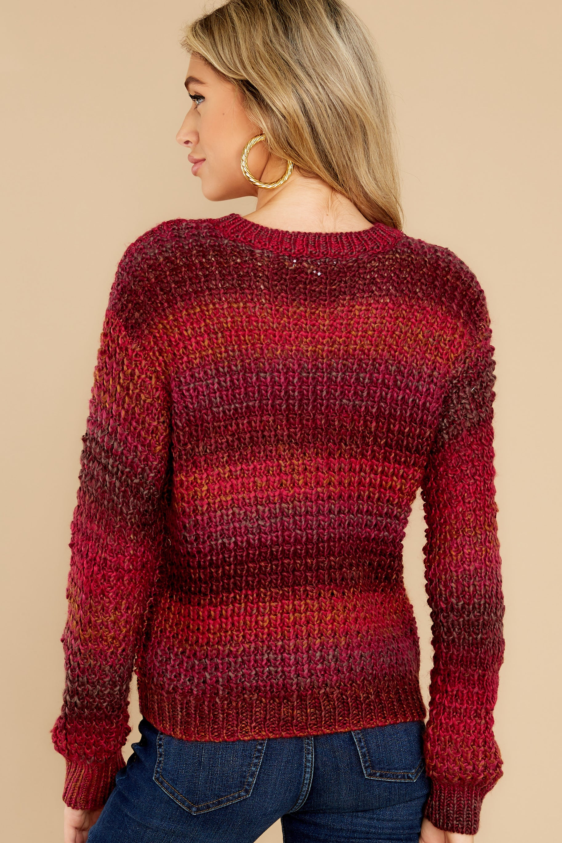 7 Catching Up Red Multi Knit Sweater at reddress.com