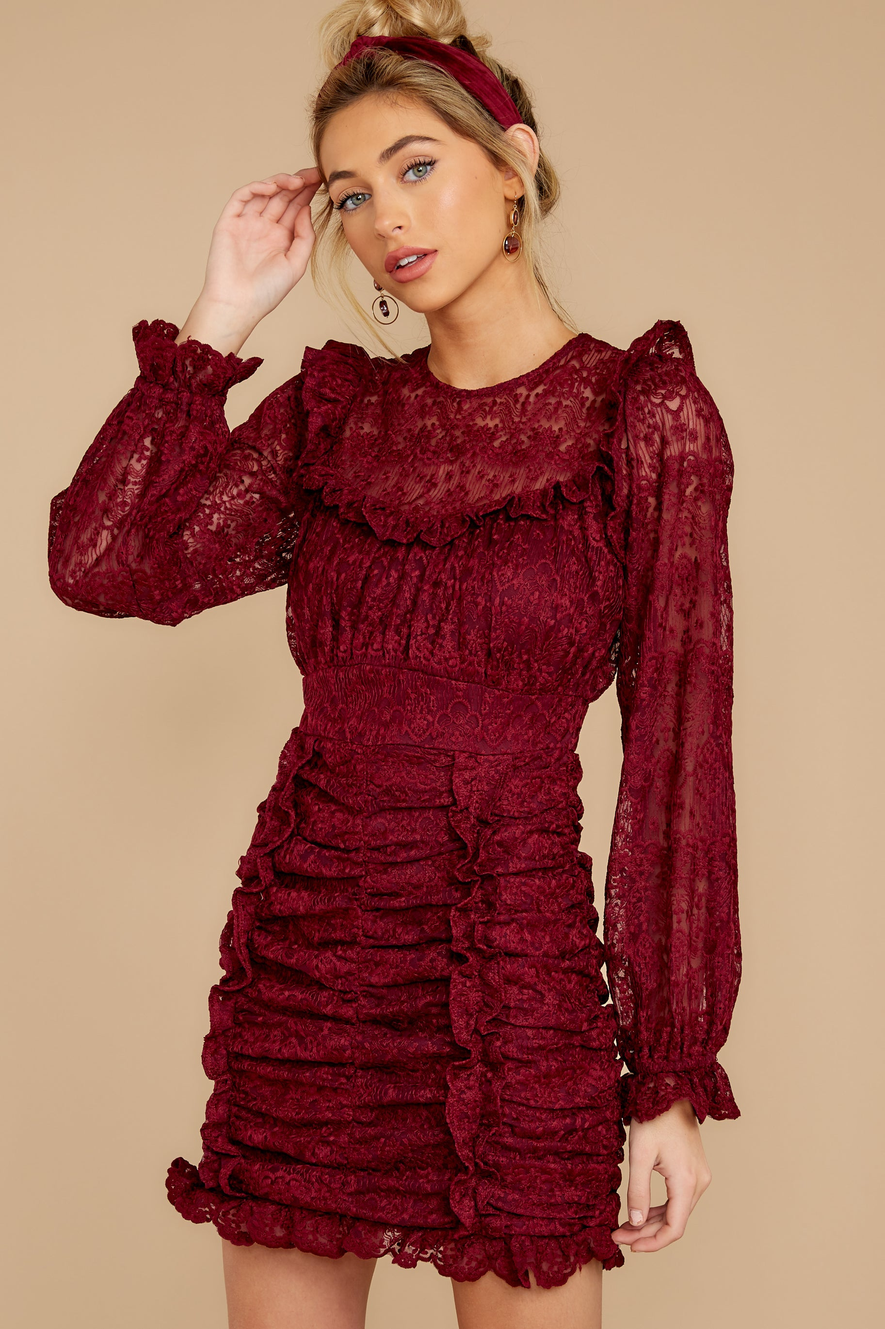 6 Talk About Love Burgundy Dress at reddress.com