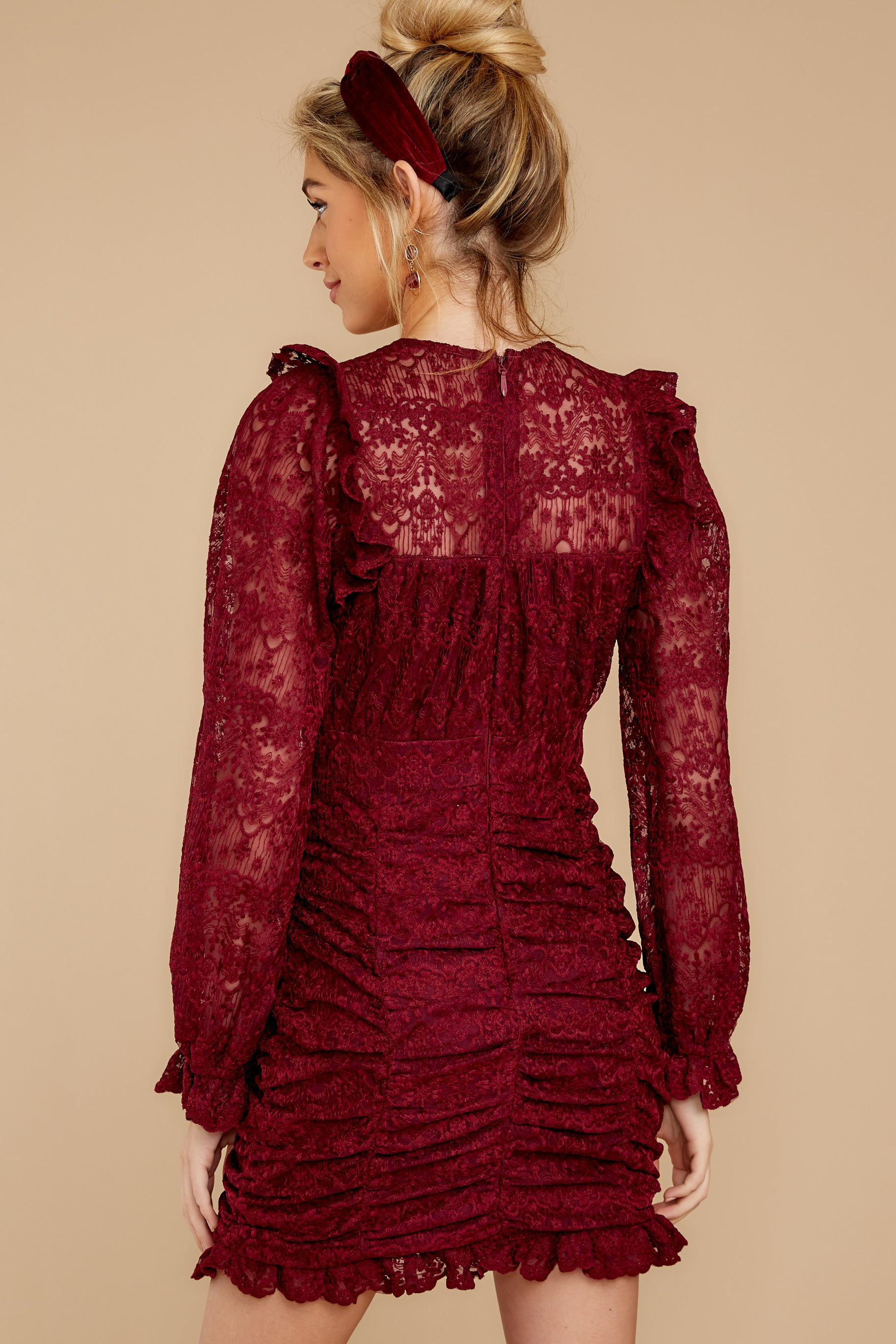 8 Talk About Love Burgundy Dress at reddress.com