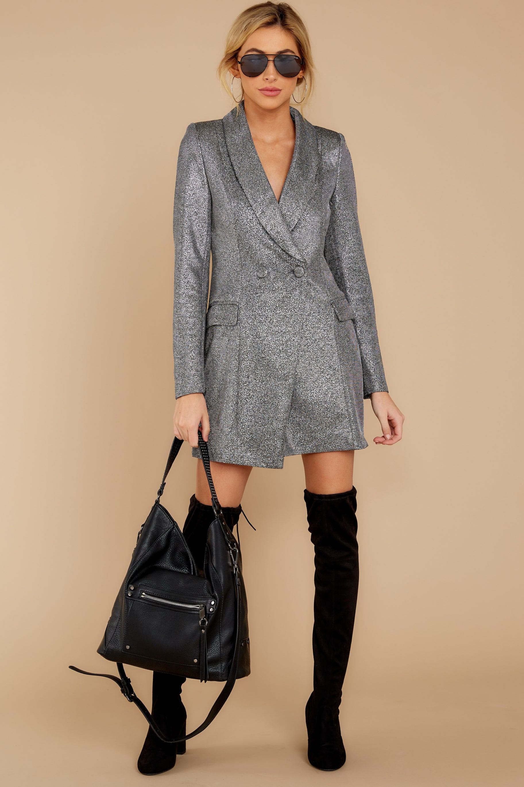 1 Reign Supreme Silver Blazer Dress at reddressboutique.com