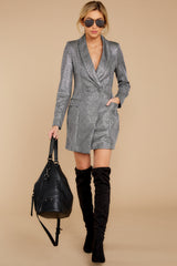 2 Reign Supreme Silver Blazer Dress at reddressboutique.com