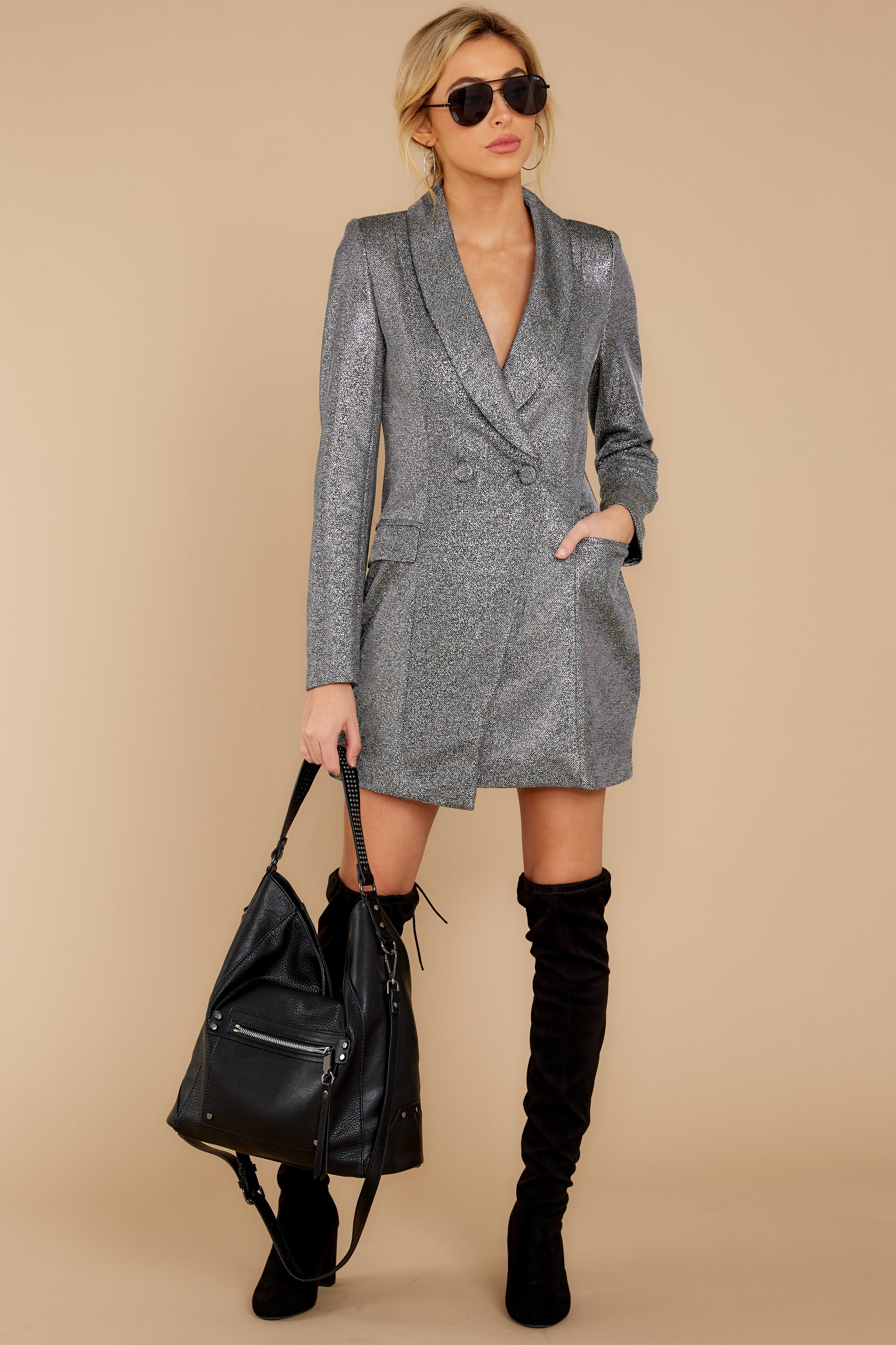 3 Reign Supreme Silver Blazer Dress at reddressboutique.com