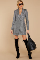 4 Reign Supreme Silver Blazer Dress at reddressboutique.com