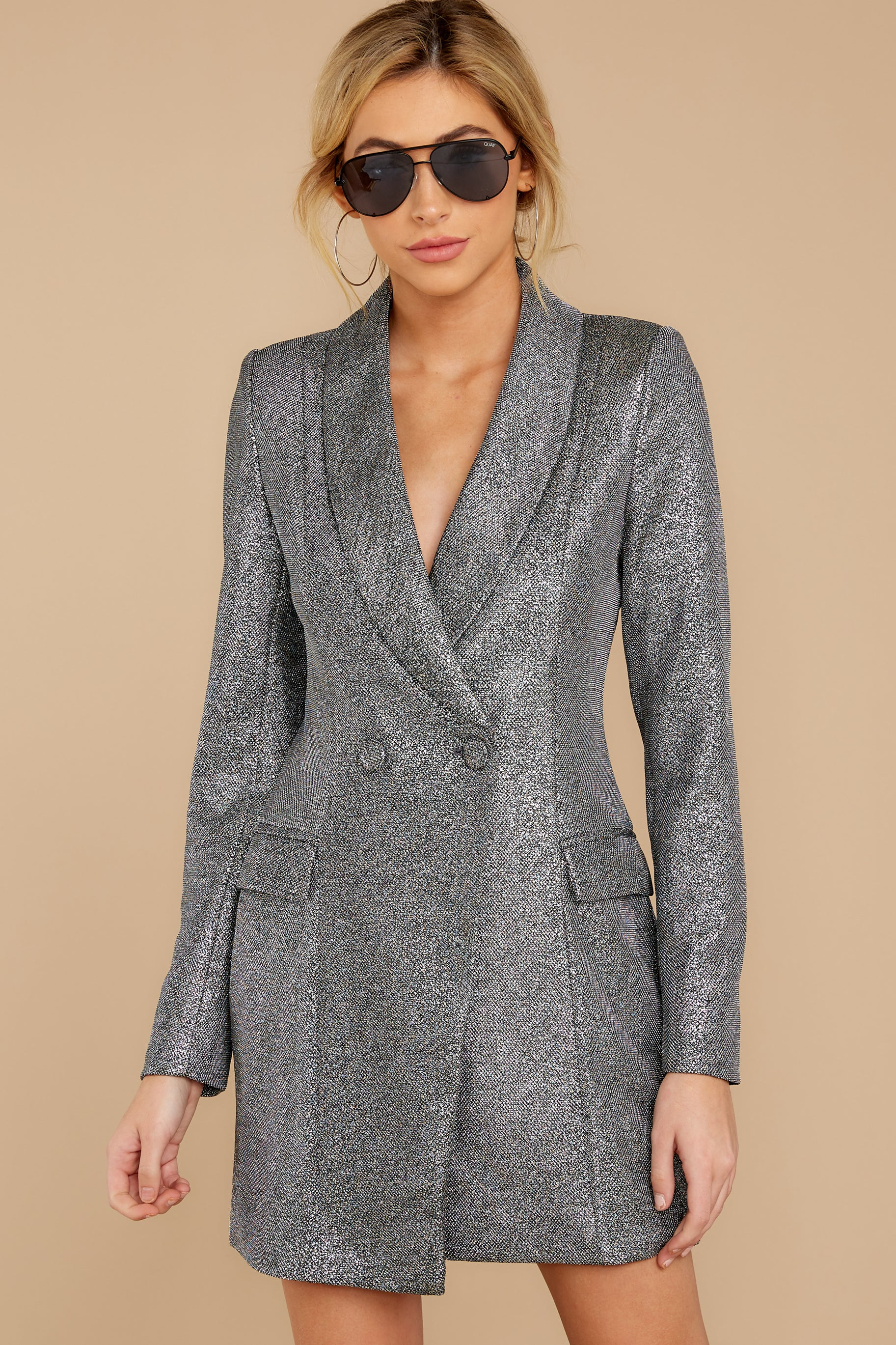 6 Reign Supreme Silver Blazer Dress at reddressboutique.com
