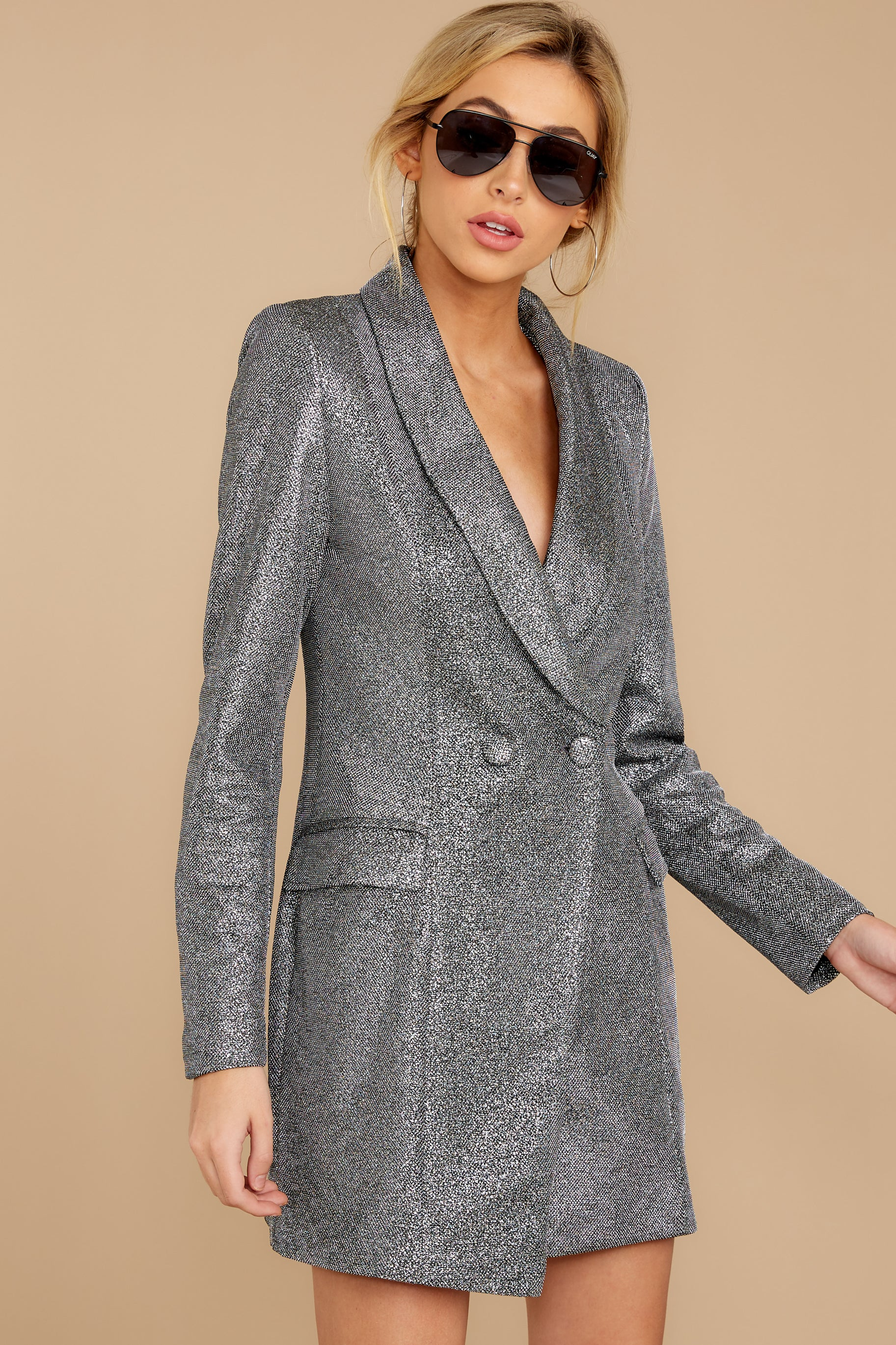 7 Reign Supreme Silver Blazer Dress at reddressboutique.com