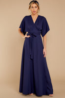V-neck Belted Button Closure Wrap Dolman Short Sleeves Sleeves Full-Skirt Maxi Dress