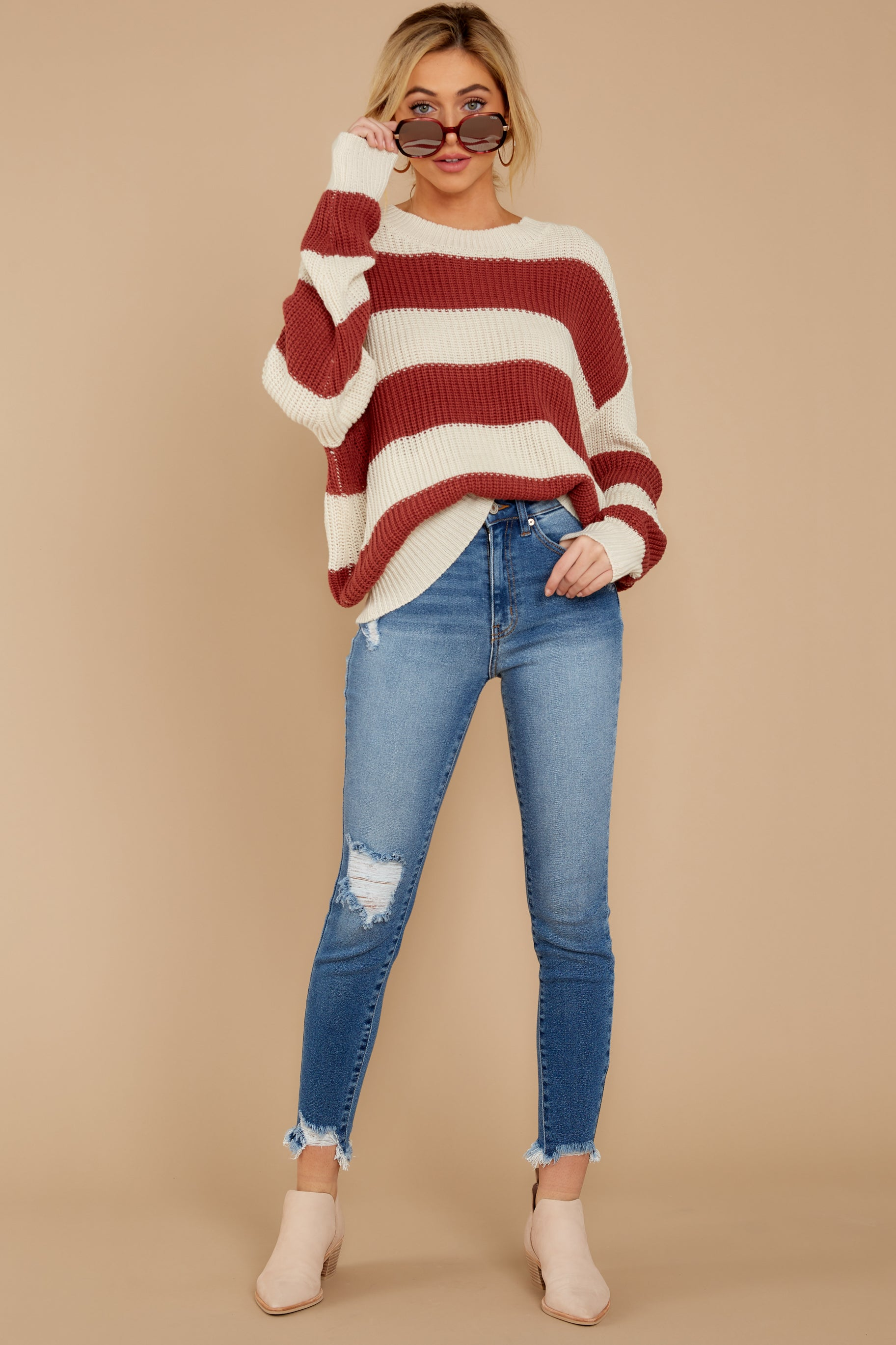 1 From Paris To Prague Marsala And White Stripe Sweater at reddressboutique.com