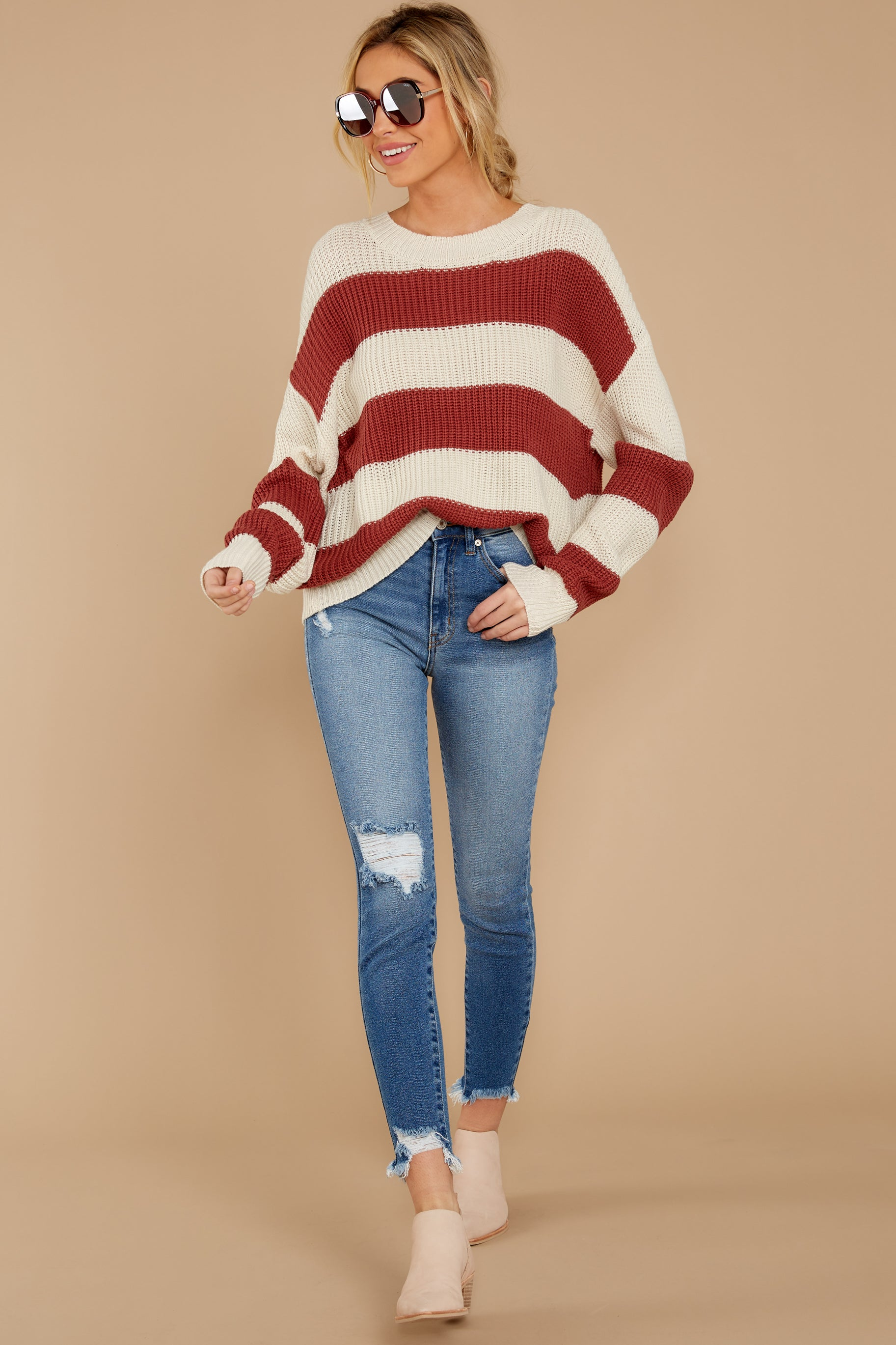 2 From Paris To Prague Marsala And White Stripe Sweater at reddressboutique.com