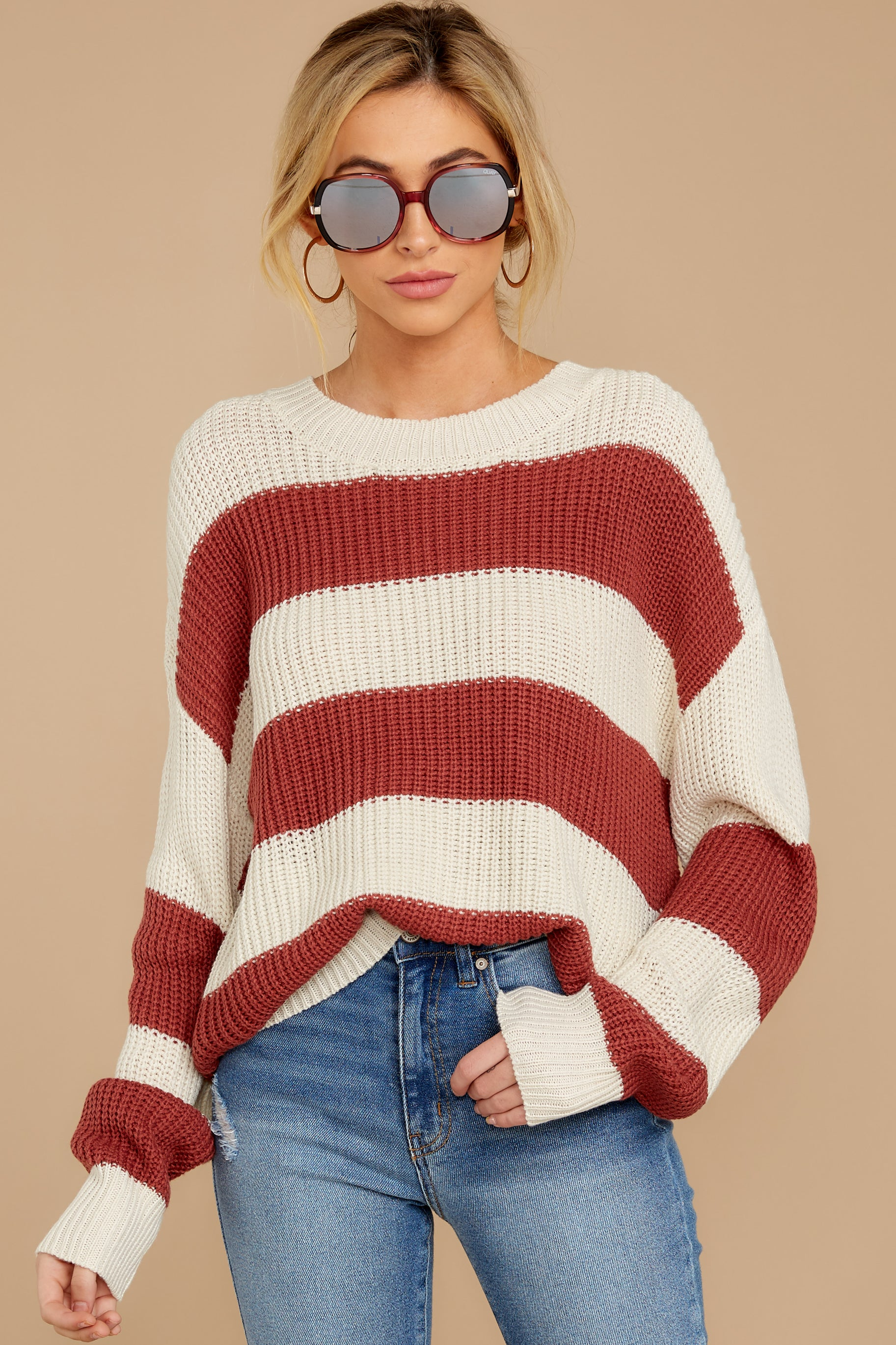 4 From Paris To Prague Marsala And White Stripe Sweater at reddressboutique.com