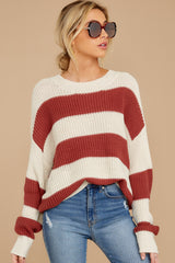 5 From Paris To Prague Marsala And White Stripe Sweater at reddressboutique.com