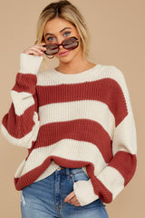 6 From Paris To Prague Marsala And White Stripe Sweater at reddressboutique.com