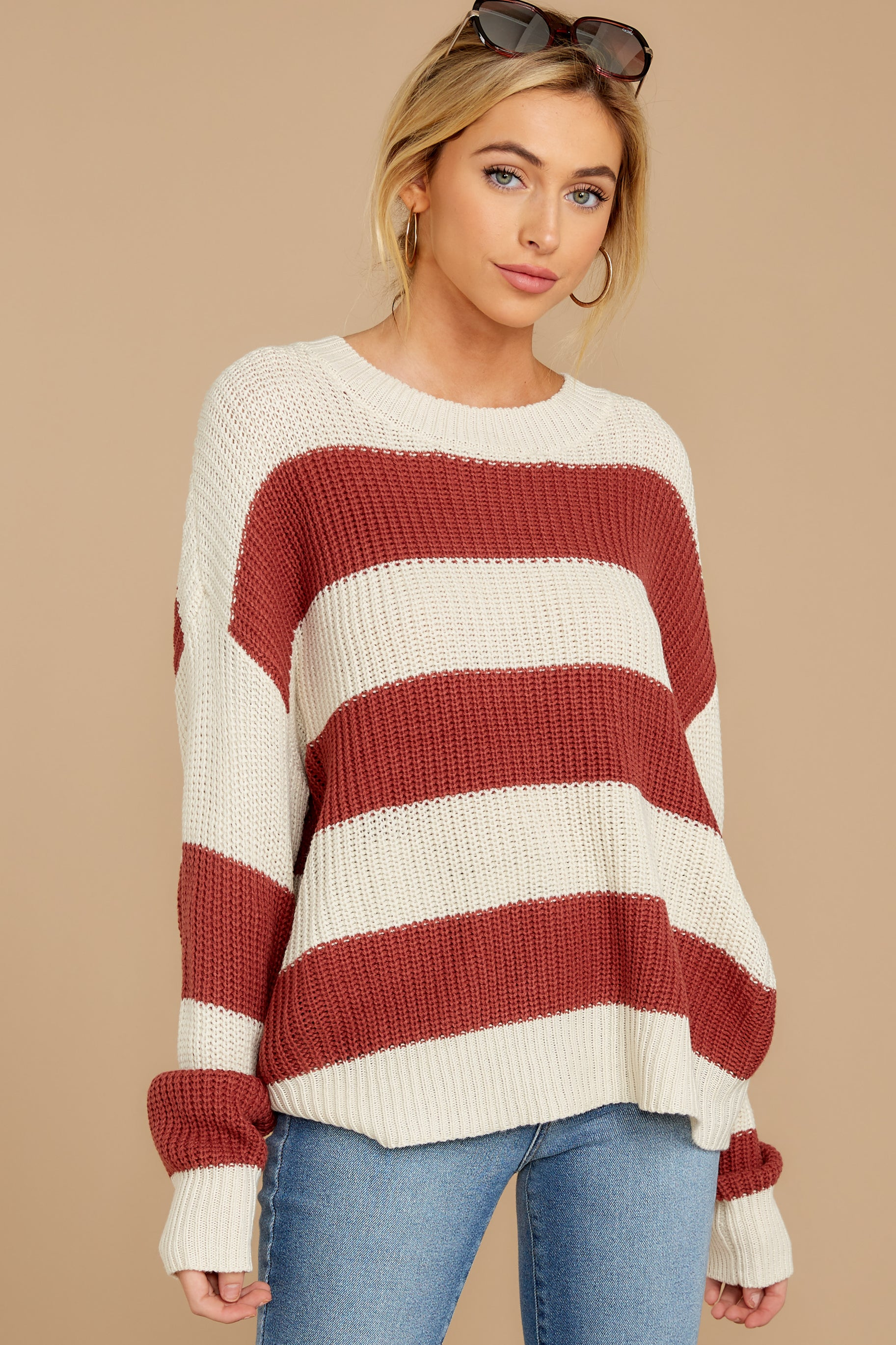 7 From Paris To Prague Marsala And White Stripe Sweater at reddressboutique.com