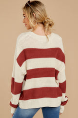 8 From Paris To Prague Marsala And White Stripe Sweater at reddressboutique.com