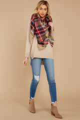 1 Keep Things Simple Beige Sweater at reddressboutique.com