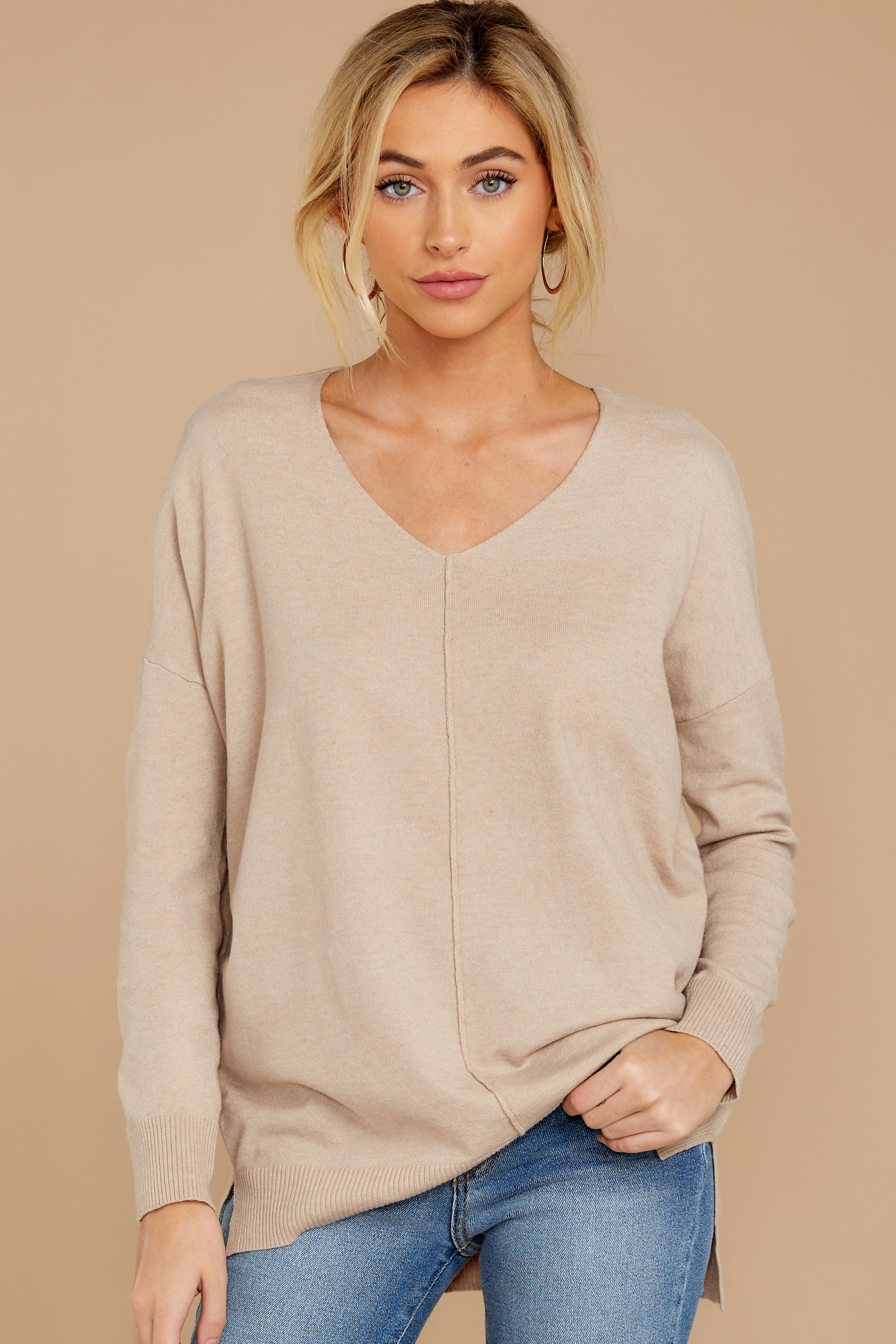 4 Keep Things Simple Beige Sweater at reddressboutique.com