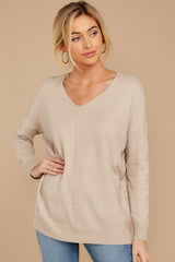 5 Keep Things Simple Beige Sweater at reddressboutique.com