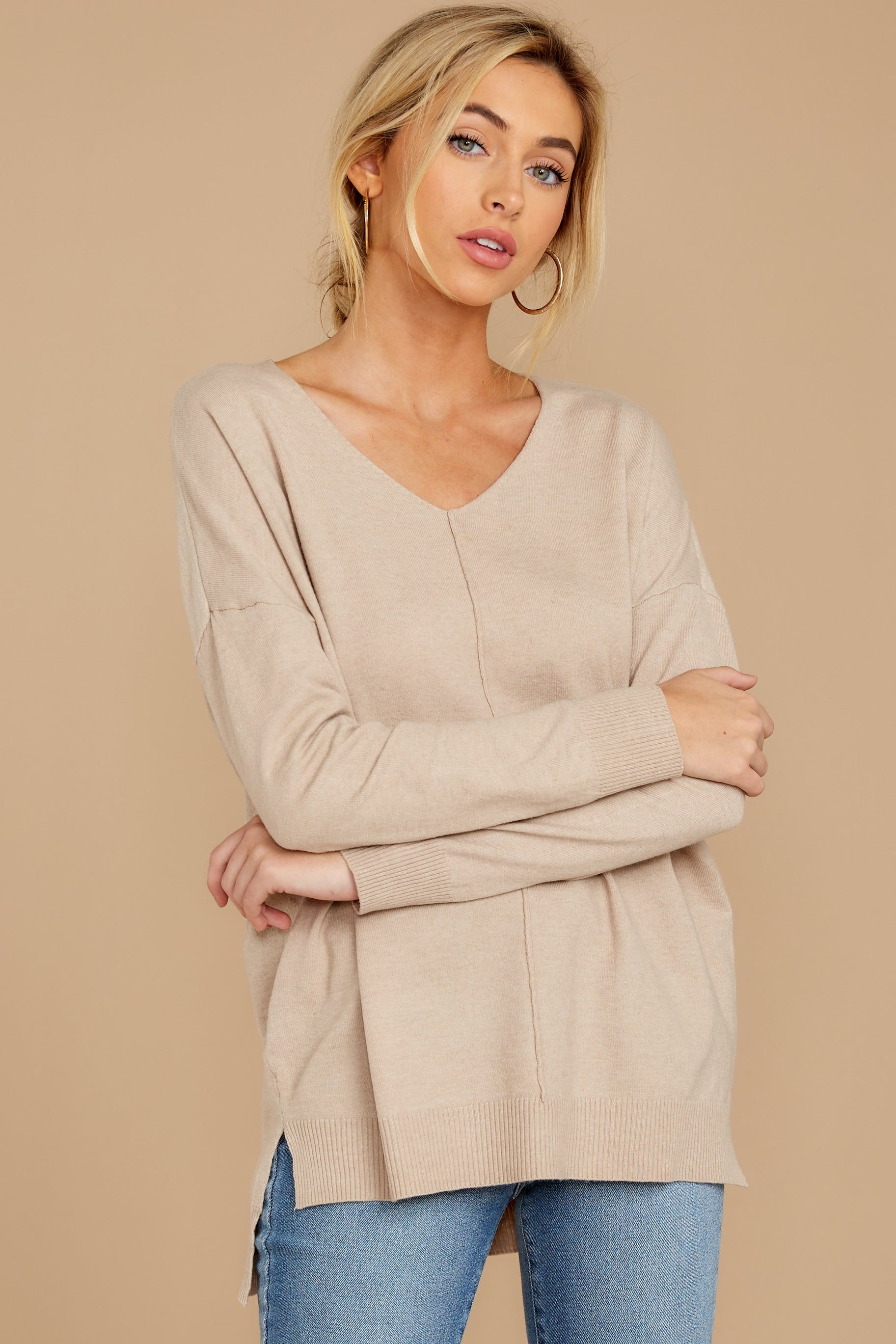 6 Keep Things Simple Beige Sweater at reddressboutique.com