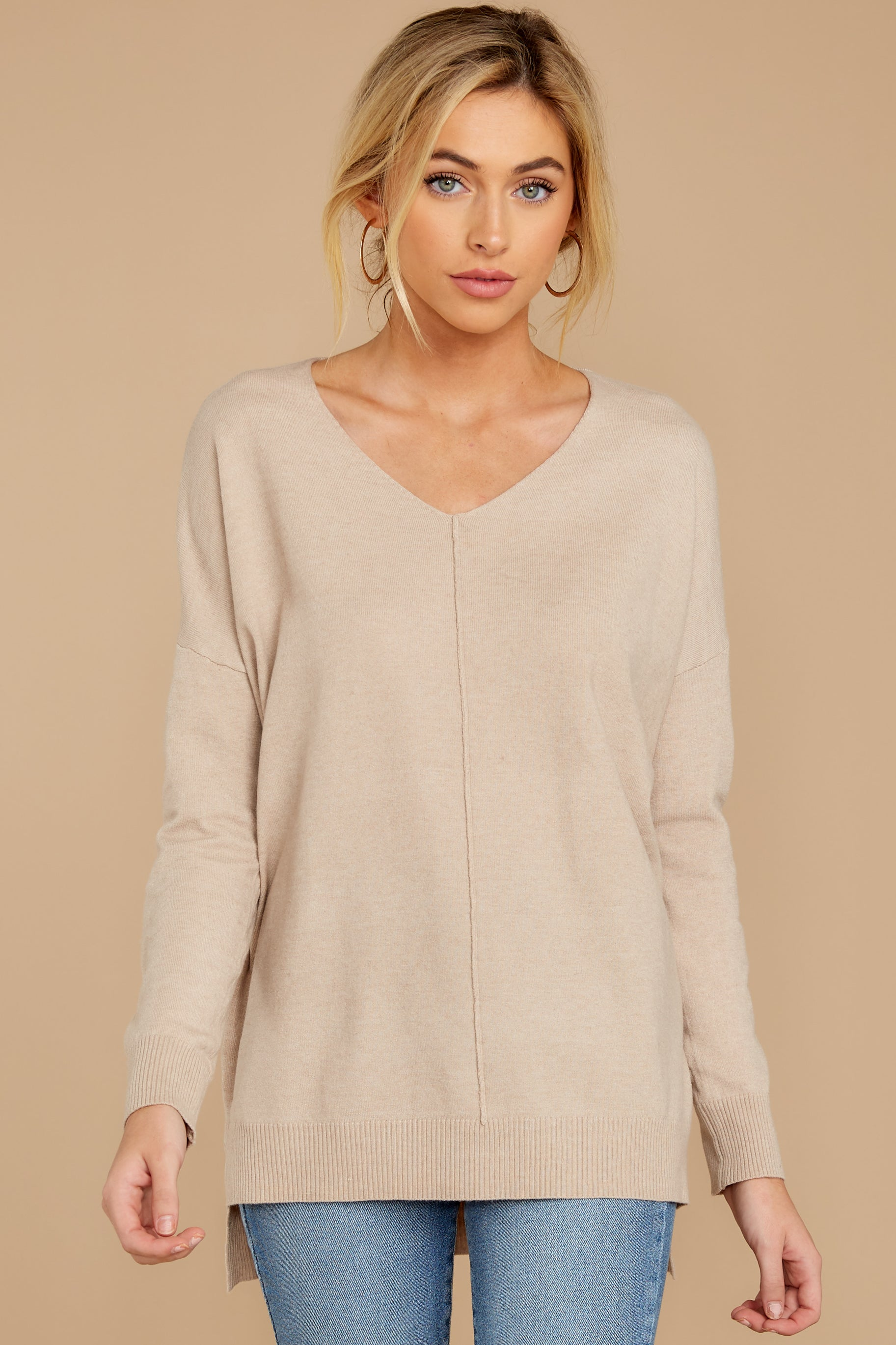 7 Keep Things Simple Beige Sweater at reddressboutique.com