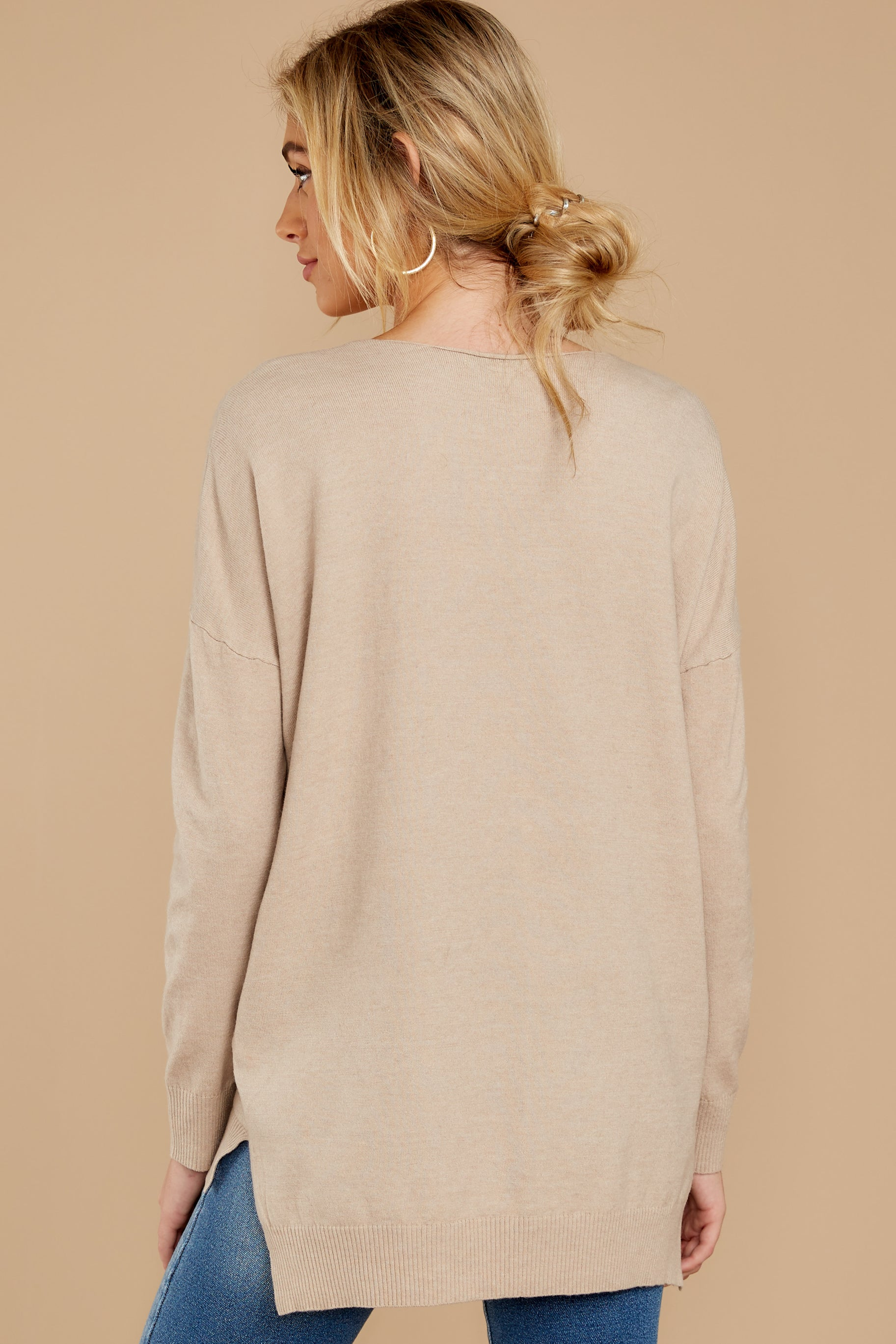 8 Keep Things Simple Beige Sweater at reddressboutique.com