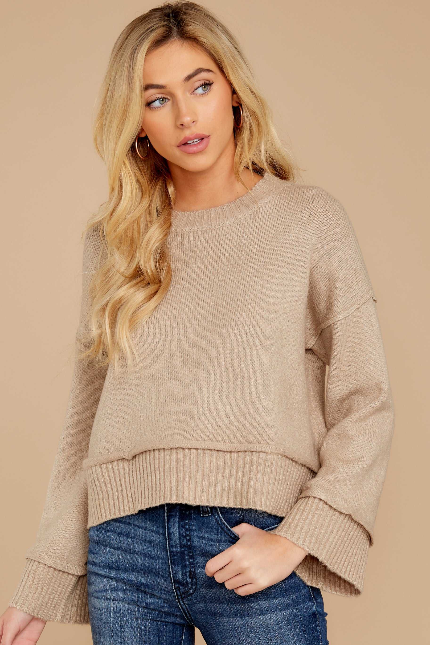 1 Woman About Town Warm Taupe Sweater at reddressboutique.com